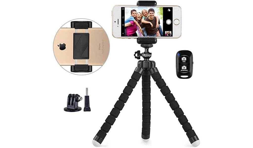 Phone tripod, UBeesize Portable and Adjustable Camera Stand Holder